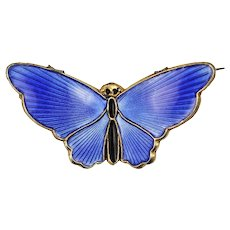 David Andersen Blue Butterfly Sterling Silver Brooch