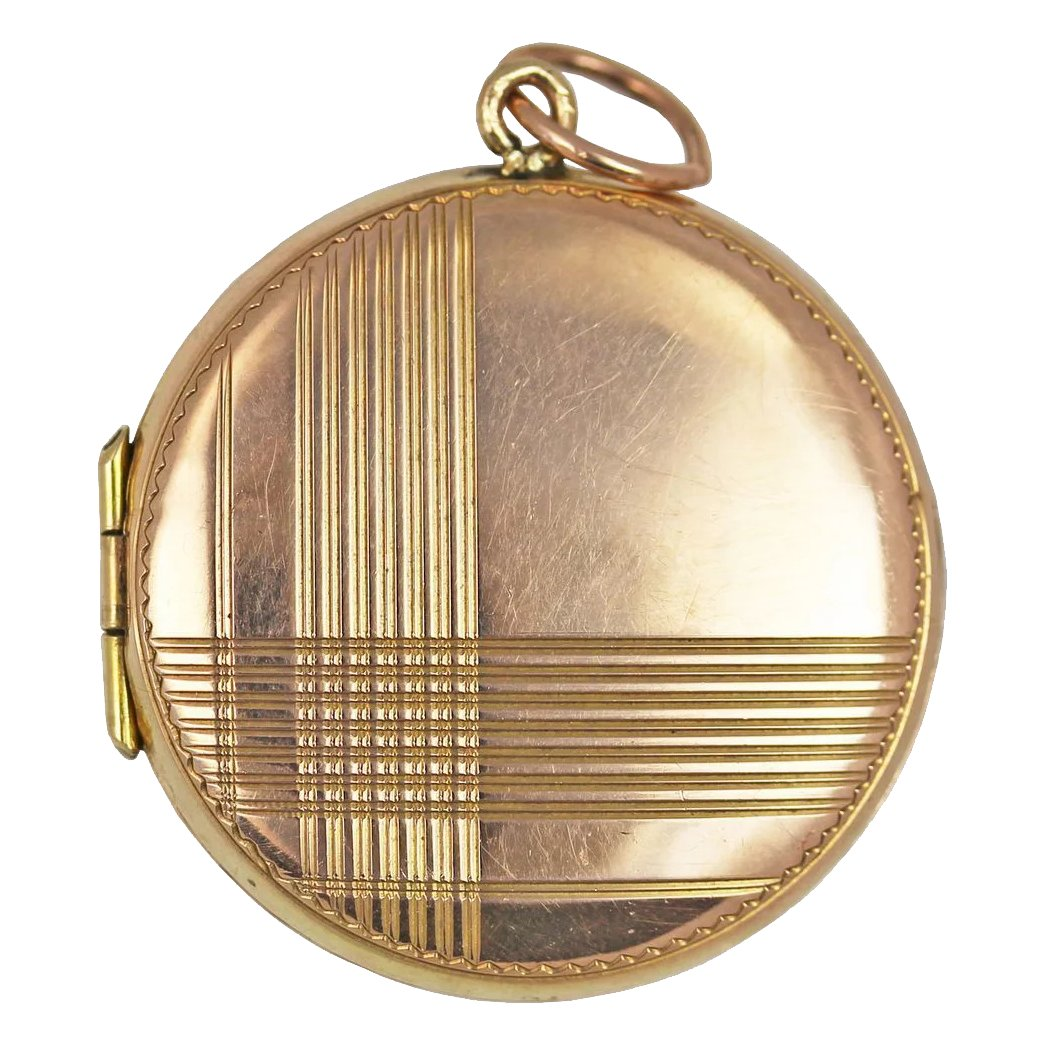 Art deco 9kt rose gold geometric locket red swallow for Deco maison rose gold