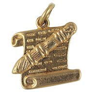Jewish Mezuzah Case and Scroll Charm 14kt Gold