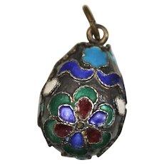 Silver Cloisonné Egg Pendant or Charm