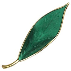David Andersen Green Enamel Leaf Sterling Silver Brooch