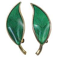 David Andersen Green Enamel Leaf Sterling Silver Earrings