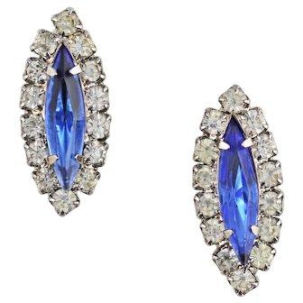 Vintage Retro 1950s Costume Marquise Cut Blue Paste Earrings