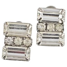Vintage Retro 1950s Costume Emerald Cut Paste Earrings