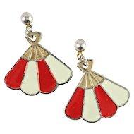 Vintage Red and White Enamel Fan Earrings