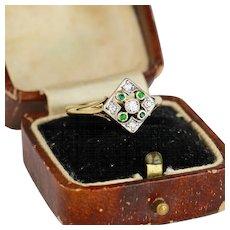 Antique Edwardian Diamond and Emerald Platinum 18k Gold Ring