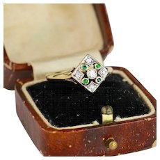 Antique Edwardian Diamond and Emerald Platinum 18k Gold Ring