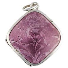 Antique Art Nouveau Purple Lavender Guilloche Enamel Sterling Silver Lily Flower Locket