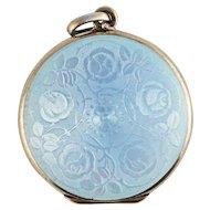 Antique Edwardian David Andersen Blue Enamel Guilloche Sterling Silver Locket