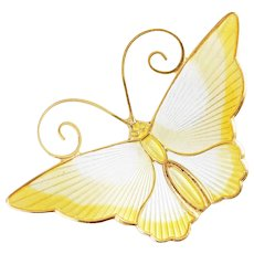 Vintage David Andersen Yellow and White Enamel Guilloche Sterling Silver Butterfly