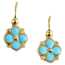 Antique Early Victorian French 18k Gold Blue Enamel Back to Front Dormeuse Earrings