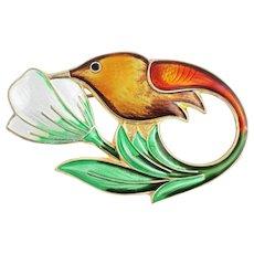 David Andersen Enamel Hummingbird Sterling Silver Brooch