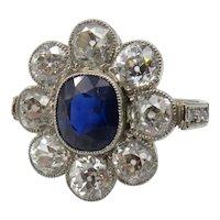 1920's Era Art Deco Sapphire and Diamond Ring