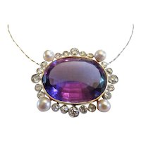 Antique Amethyst, Diamond and Freshwater Pearl Pendant