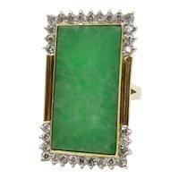 Circa 1960. Natural Jadeite Jade and Diamond Ring
