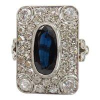Art Deco Rectangular Sapphire and Diamond Ring