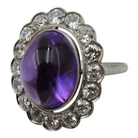 1920's Cabochon Amethyst and Diamond Ring