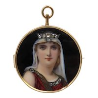 Circa 1890. Enamel and Hand Painted Portrait Pendant Pin of Victorian Lady