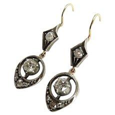 Circa 1900 Old European Cut Diamond Drop Earrings