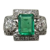 1920's Emerald and Diamond Ring