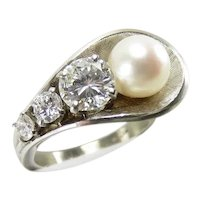 Mid Century Cultured Pearl and Diamond Ring