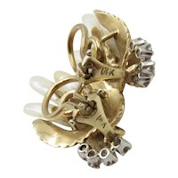 Mid Century 14KT Gold Leaf Design Earrings with Baroque Freshwater Pearl and Brilliant Cut Diamonds