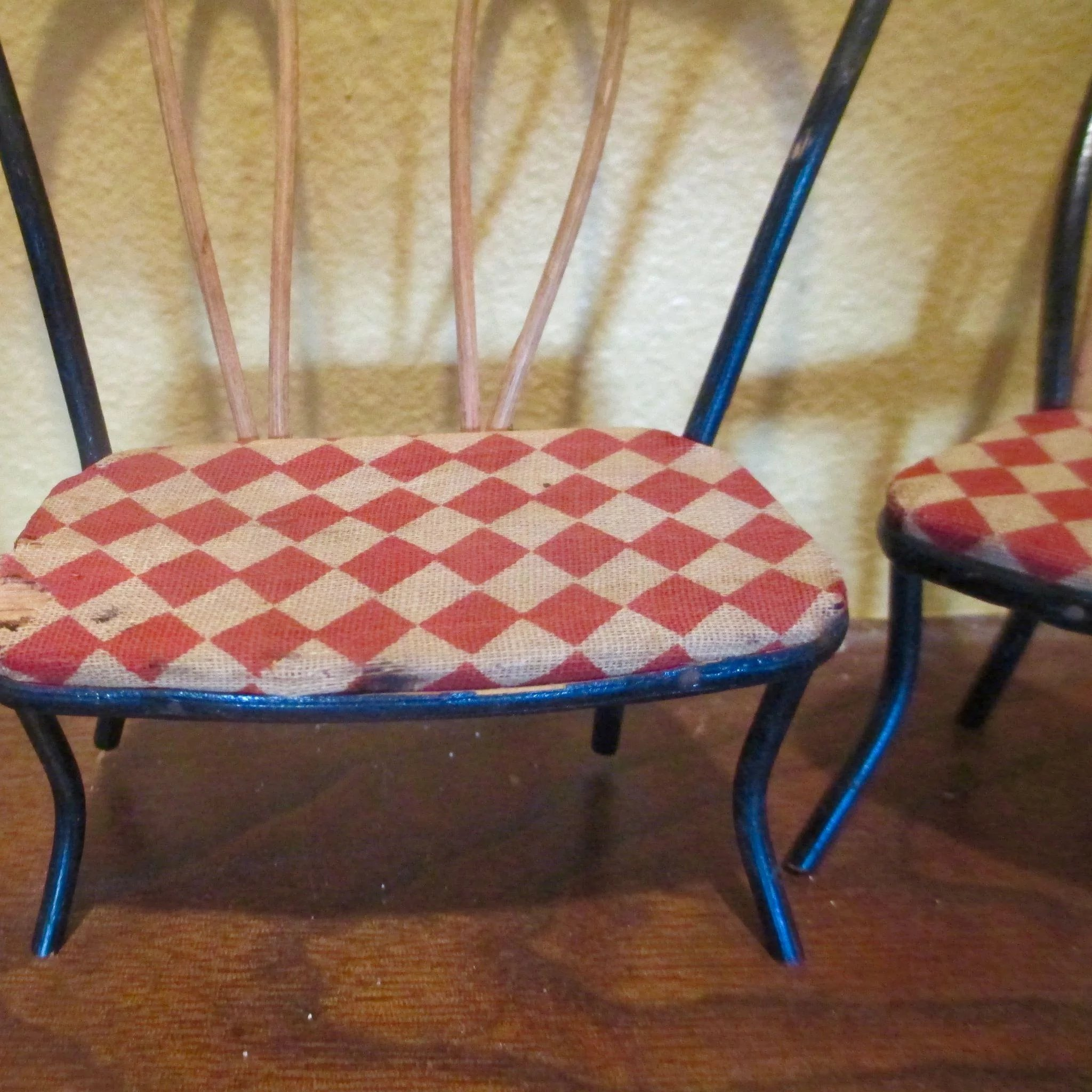 Vintage Bentwood Checkered Ice Cream Parlour Chairs Couch Dollhouse. Click  To Expand
