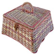 Vintage German Woven Reed Rattan Sewing Basket Silk Tufted Lining