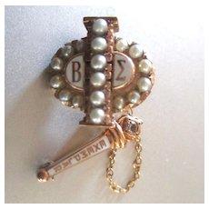 10K Beta Sigma Exemplar Gold Sorority Pin Seed Pearls Beta Sigma