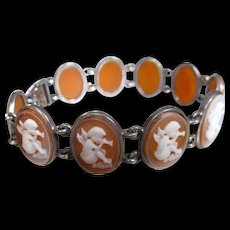 Edwardian Era Shell Cameo Cherubs Playing Flutes Bracelet - Red Tag Sale Item