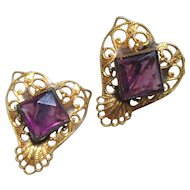 Vintage Sterling and Gilt Amethyst Colored Filigree Heart Earrings