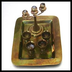 Vintage Brass Dollhouse Candelabra Goblets Tray
