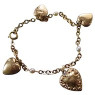 Vintage 12 K Gold Filled Puffy Heart Bracelet Pearls