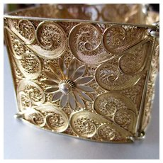 Sterling Gilt Wide Filigree Daisies Paisleys Signed