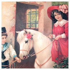 Early 1900's Chromolithograph Germany Boy Girl Horse