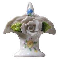 German Porcelain Miniature Pastiche Flower Basket Dollhouse