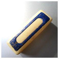 Edwardian French Ivory Celluloid Enameled Pin Box