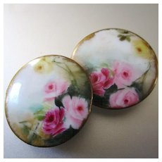 Large Hand Painted Limoges Stud Buttons Roses