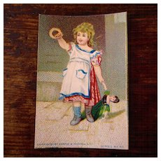 Original Victorian Album Card Girl With Doll Wemple Kronheim NY