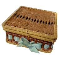 Shaker Hand Woven Square Basket Sewing Or Doll