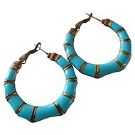 Great Pair Aqua Bamboo Enamel on Copper Hoops