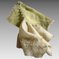 Silk Embroidered Wedding Hanky Monogrammed Linen Case