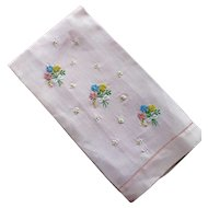 Pink Linen Hand Towel Embroidered Flowers Bows
