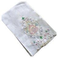 Unused Madeira Linen Organdy Powder Room Towel Label