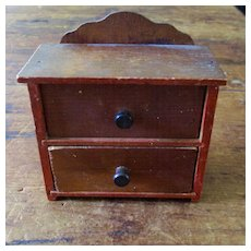 Old Red Paint Dollhouse Bureau