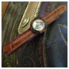 Vintage Alligator Money Clip Horse Head Crystal