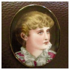 Victorian Hand Painted Brooch Beautiful Woman Gold Plated Frame