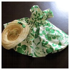 1950's Dress Green Leaves Horsehair Bonnet Fits Cissette