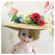 Beautiful 50's Silk Poppy Flowers Straw Hat Fits Cissette