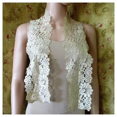 Art Deco Silk Lace Floral Long Scarf